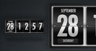 Dark Polished Flip Clock and Calendar – Free PSD Template