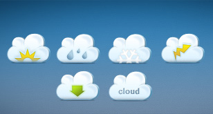 Nifty Little Cloud Icons (Free PSD Template)
