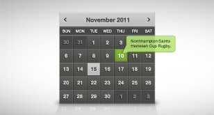 Clean Dark Calendar Widget – Free PSD File