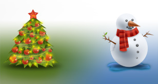 Christmas Tree and Snowman – Christmas Icons – Free PSD Files