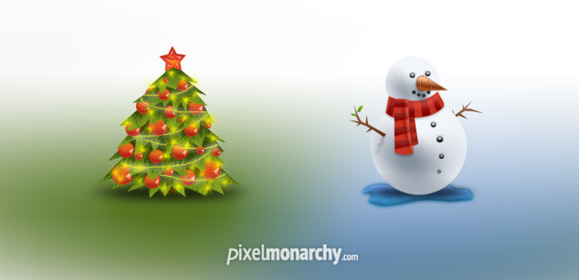 christmas icons - christmas tree, Snowman